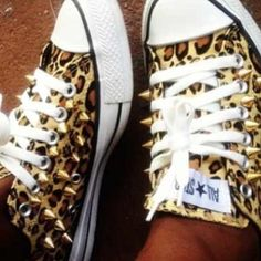 Spiked Leopard Chuck Taylor Shoes Custom Design Spiked Leopard Print Chuck Taylor Shoes. Designed for Women & Kids Converse Shoes