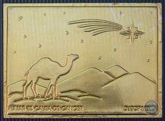 México - Postal Publicitaria Camel Metalica Dorada Muy Rara
