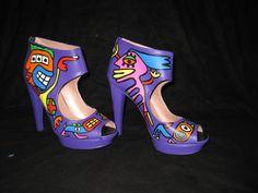 Art high heels, purple edition by Ton Pret. Used on catwalk le Bal de Paris