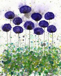 Buy 2 Get 1 FREE -- Watercolor Painting: Watercolor Flowers -- Art Print --  Upward Slope -- Purple Flowers -- 8x10
