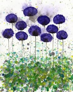 Buy 2 Get 1 FREE -- Watercolor Painting: Watercolor Flowers -- Art Print --  Upward Slope -- Purple Flowers -- 8x10