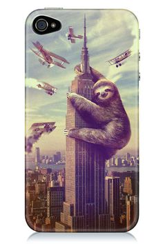 Fits the iPhone Features King Kong Sloth climbing the Empire State Building graphic. The laziest attack ever has finally arrived as a phone case. Guaranteed to make you instantly famous. Baby Sloth, Cute Sloth, Funny Sloth, King Kong, Cute Phone Cases, Iphone Cases, Cover Iphone, Iphone Phone, Funny Animals