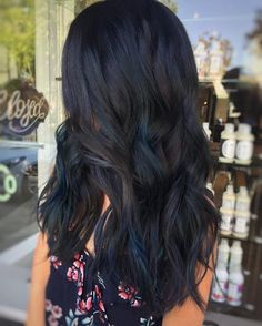 long black hair with dark blue highlights