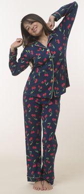 "Bedhead Women's ""Navy Cherry Pick"" Classic Stretch Pajama Set $99 - SHOP http://www.thepajamacompany.com/store/18918.html?category_id=312"