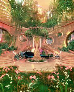 Aesthetic Rooms, Nature Aesthetic, Dream Home Design, House Design, Retro Interior Design, Fantasy Landscape, Fantasy Art Landscapes, Beautiful Architecture, Organic Architecture