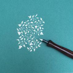 Leaves. #pointedpen #doodles #calligraphy #flourishforum #flourish #colorplan #emerald