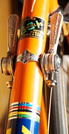 Campagnolo downtube shifters found on a vintage Molteni Eddy Merckx road bike.