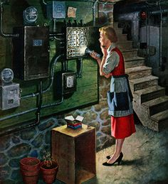 Blown Fuse, art by Amos Sewell.  Detail from January 28, 1956 Saturday Evening Post cover.