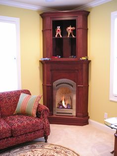 bed & Breakfast style gas fireplace inserts in cabinets Corner Fireplace, Rustic Fireplaces, Hearth And Patio, Fireplace Seating, Beams Living Room, Gas Fireplace, Small Attic Room, Home Decor, Corner Gas Fireplace