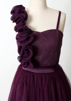 #Chicwish 3D Flower Fluted Hemline Tulle Dress in Violet - Dress - Retro, Indie and Unique Fashion