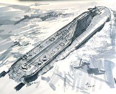 Submarine Aircraft Carrier concept, donald yatomi on ArtStation at https://www.artstation.com/artwork/submarine-aircraft-carrier-concept