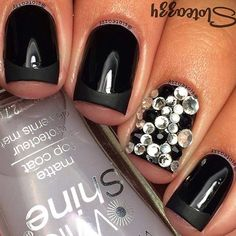 Black French Tip + Rhinestone Accent Nail