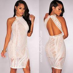 Mini robe dentelle blanc cassé dos nu TU 34/40 - bestyle29.com