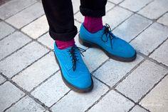 Peacock blue Doc Martens with magenta socks.