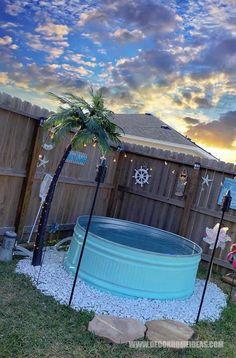 Diy Pool, Small Backyard Pools, Backyard Patio Designs, Backyard Ideas, Zip Line Backyard, Diy Swimming Pool, Small Pools, Stock Pools, Stock Tank Pool