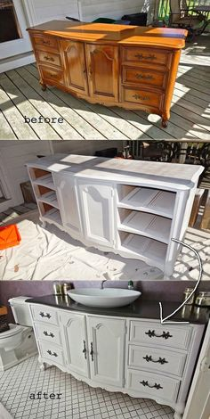 Old Dresser Got a New Life As a Bathroom Vanity Painted in White And Black - 19 Recycled Projects To Customize Your Small Bathroom