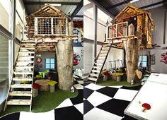 Missing Link Builds an Awesome Indoor Treehouse Inside Their New South African Office Missing Link Treehouse in South Africa – Inhabitat - Sustainable Design Innovation, Eco Architecture, Green Building Indoor Tree House, Indoor Play Places, Cool Tree Houses, Eco Architecture, Play Spaces, Play Rooms, Beautiful Interior Design, Outdoor Art, Kirchen