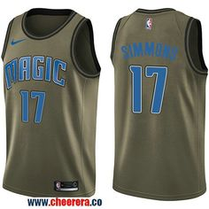 e2222cfe7 Men s Nike Orlando Magic  17 Jonathon Simmons Green Salute to Service NBA  Swingman Jersey Los