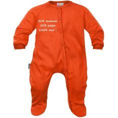 Pyjama bébé message : 50% maman 50% papa 100% moi (7 coloris)