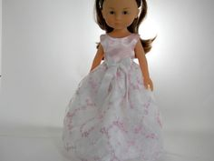 13 inch doll clothes made to fit dolls such as Corolle Les Cheries doll clothes Pink White Embroidered Flower Dress, 02-0931 by thesewingshed on Etsy