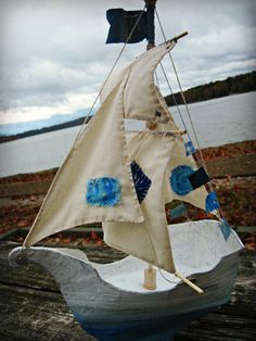 Paper Mache Sailing Ship by Boat Crafts, Fun Crafts, Paper Crafts, Ann Wood, Cardboard Box Crafts, Paper Ship, Nautical Art, Paperclay, Wood Patterns