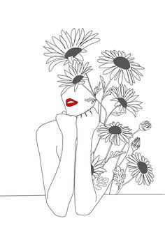 Minimal Line Art Girl with Sunflowers Throw Pillow by Nadja - Cover x with pillow insert - Indoor Pillow Minimalist Drawing, Minimalist Art, Art Drawings Sketches, Easy Drawings, Line Artwork, Abstract Line Art, Embroidery Art, Aesthetic Art, Art Girl