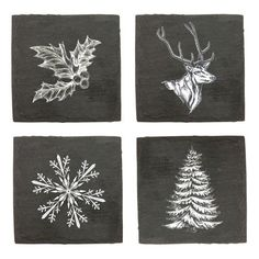Rustic Holiday Assorted Slate Coasters by Twine – Everything Bar Carts