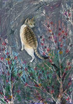 Oil pastel work by Japanese illustrator Kanoko Takeuchi