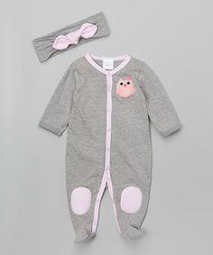 Silver & Pink Stripe Owl Footie & Headband - Infant #zulily #zulilyfinds