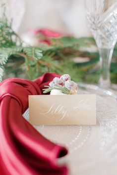 Gorgeous place card for a holiday dinner Planificatrice, styliste et fleuriste: @lulucoeurdebeurre Photographe: @juno_photography Calligraphie: @neilsonletters Locations: @locationschic Lieu: @lappartementpardd, @damask_dentelle Sous verre: @claudineverstraelen_art Linge de table: @casannita_lingedemaison Place Card Calligraphy, Occasion, Place Cards, Gift Wrapping, Letters, Wedding Ideas, Gifts, Art, Table Linens