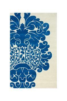 Contempo Damask Wool Rug - Blue - 7ft. 6in. x 9ft. 6in. by nuLOOM on @HauteLook