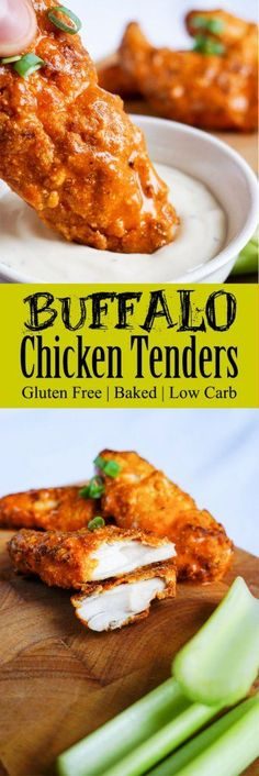 Keto Chicken Tenders Dipped in Tangy Buffalo Sauce paleo dinner meatless