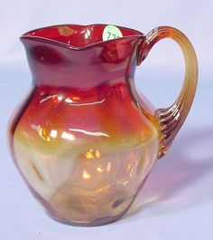 Amberina Thumbprint Pitcher: with squared mouth and applied handle.  Circa 19th century