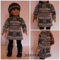 Gray Nordic Sweater Dress Handknit Hat and Leggings