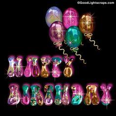 Metallic Balloons & Glitter Birthday Wishes Animated Birthday Greetings, Birthday Greetings For Facebook, Funny Happy Birthday Wishes, Happy Birthday Dear, Happy Birthday Pictures, Happy Birthday Balloons, Birthday Messages, Birthday Photos, Happy Birthday Cards