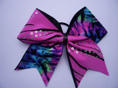 Cheer Bow Pink and tie dye by LeBow1cheerbows on Etsy, $10.00