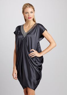 Gunmetal Satin Dress that is drapey and flows like a tunic