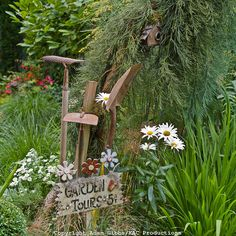 garden signs | old garden tools and whimsical sign