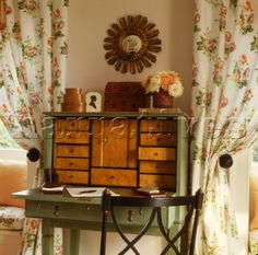 Antique writing bureau between floral curtained windows Writing Bureau, Arts And Crafts, Diy Crafts, Interior Photography, Nice Things, Windows, Interiors, Spaces, Decorating