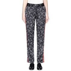 Equipment 'Florence' floral print silk satin pants (380 CAD) ❤ liked on Polyvore featuring pants, floral pants, floral trousers, stripe pants, striped trousers and floral print pants