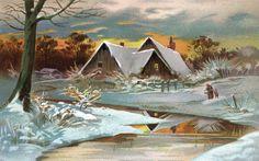 Clip Art of A Vintage Winter Bunny Card Free Clipart Images, Royalty Free Clipart, Vintage Christmas Images, Vintage Images, Holiday Postcards, Vintage Postcards, Country Scenes, Vintage Winter, Winter Wonder