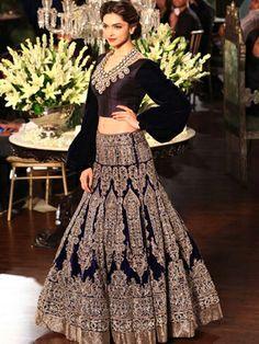 Manish Malhotra's sophisticated black and pale gold traditional lehenga done in ethnic motifs adds grace to Deepika Padukone #ShaadiMagazine
