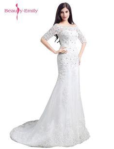 Beauty-Emily Lace Long Wedding Party Dresses Mermaid Half Sleeve Wedding  Dresses Court Train Bridal Dresses 2017 f48dde331d91