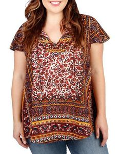 Lucky Brand Plus Plus Patterned Tunic Women's Red Multi 2X