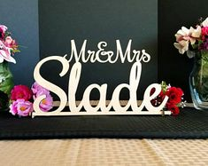 Mr & Mrs Sign Custom Wedding Name sign Script Mr and Mrs Surname Personalized Last Name Sign Sweetheart table Sign Head Table Decor Hanging Letters, Wooden Letters, Wedding Name, Wedding Signs, Wedding Reception, Table Wedding, Reception Ideas, Wedding Stuff, Head Table Decor