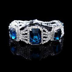 Silver Plated Brazalete Pulsera Crystal Bangles Party Rhinestone Chain Bracelet