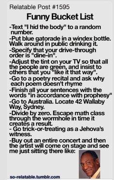 Bill Cosby bucket list