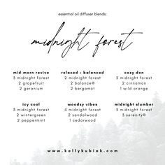 Uses + diffuser blends for doTERRA's newest Midnight Forest Blend Best Diffuser, Doterra Diffuser, Doterra Oils, Essential Oils 101, Essential Oil Diffuser Blends, Hippie Juice, Doterra Blends, Doterra Recipes, Doterra Essential Oils