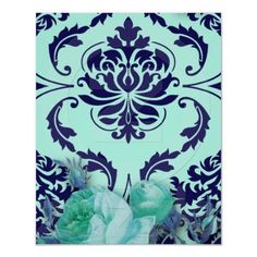 Diamond Damask, ANTIQUE ROSE in Aqua & Teal Posters