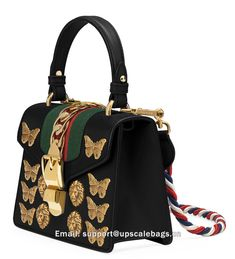 195a386bd5fa Gucci Sylvie Small Top-Handle Satchel Bag with Animal Embellishments Black